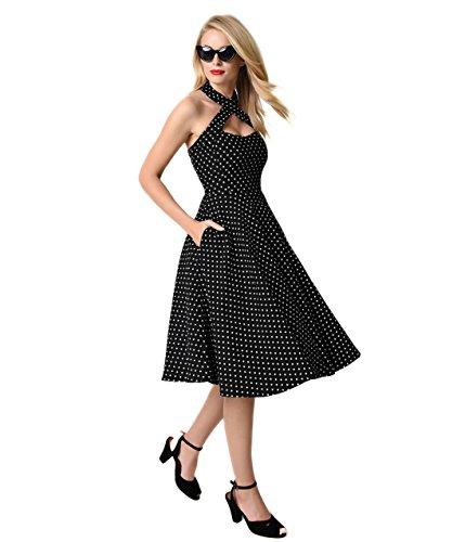 50s Halter Dress (Unique Vintage 1950s Style Black & Ivory Dot Criss Cross Halter Flare Rita Dress)