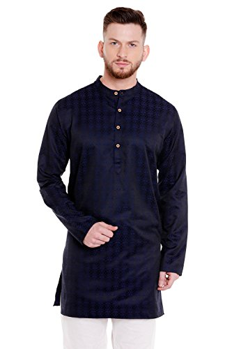 In-Sattva Men's Indian Banded Collar Mid-Length Kurta Tunic Micro Dobby Pattern; Navy Blue; LG by In-Sattva Colors