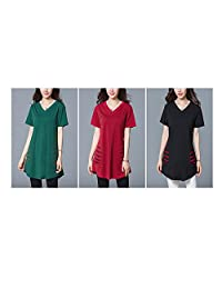 Women's Short sleeve V-Neck long T Shirt Tunic tops casual blouse