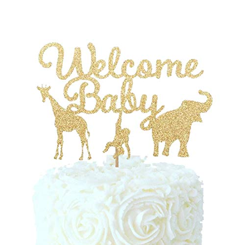 Welcome Baby Baby Shower Cake Topper Gold Glitter Jungle Wild Safari Animal Baby Shower Cake Topper Party Supplies Decorations ()