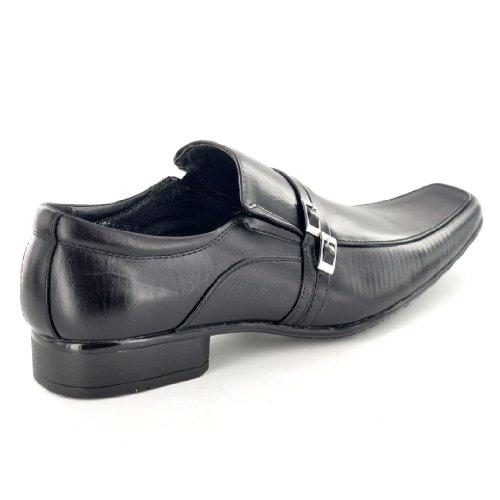 Mens Black Italian Style Slip-on förmlichen Schuhe mit Schnalle