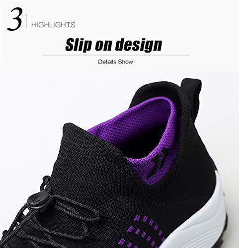 Cordones De Tacón Aonegold® Calzado Zapatillas Cuña Con Plataforma Negro Sneakers 5cm Mujer Malla Deportivas PPw4Eq8