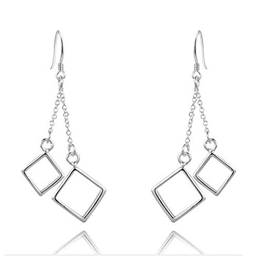 FIFATA Double Sided Dangling Geometric Classic Squares Pendant Drop Earrings for Women from FIFATA