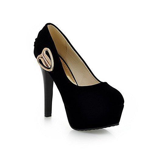 AllhqFashion Damen Mattglasbirne Eingelegt Ziehen auf Rund Zehe Hoher Absatz Pumps Schuhe Schwarz