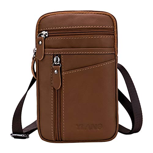 Crytech Men Leather Wallet Pouch Belt Waist Pack with Keyring Solid Small Multipocket Zipper Anti Theft Phone Carrying Case Holster Coin Purse Fanny Bag Multipurpose Hip Bum Bag for Work (Brown)