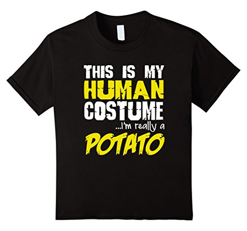 [Kids FUNNY IM REALLY A POTATO T-SHIRT Halloween Costume 6 Black] (Father Daughter Halloween Costumes)