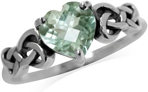 1.19ct. Natural Heart Shape Green Amethyst 925 Sterling Silver Celtic Knot Ring
