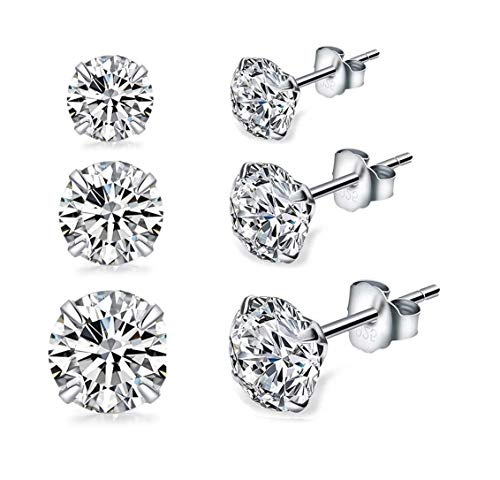 Sterling Silver Stud Earrings, 3 Pairs 18K White Gold Plated Round Clear Cubic Zirconia Stud Earrings for Sensitive Ears priercing (4/5/6mm Pack of 3)
