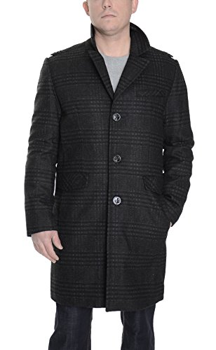 Kenneth Cole Charcoal Plaid Wool Blend 3/4 Overcoat Coat With Shoulder Epaulets for cheap