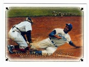Jackie Robinson baseball card (Brooklyn Dodgers Yankees 1955 World Series Steal Home Yogi Berra) 2007 Upper Deck Masterpieces -