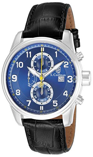 S. Coifman Men s SC0304 Chronograph Blue Dial Black Leather Watch