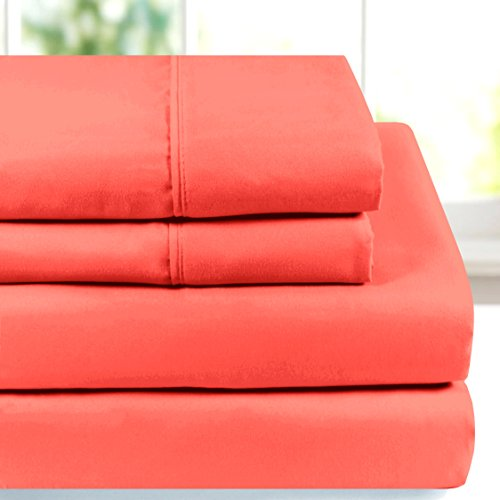 American Home Collection - Deluxe 4 Piece Bed Sheet Sets - Highest Quality of Brushed Microfiber - Wrinkle Resistant Silky Soft Touch (twin, Peach Echo)