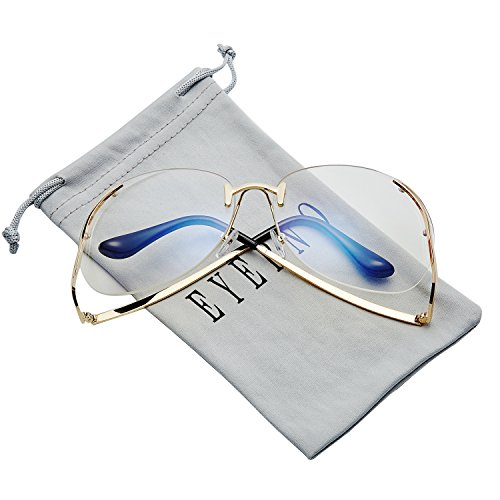 Eyerno Vintage Rimless Oversized Women Clear Lens Sunglasses Retro Eye - Clear Rimless Sunglasses