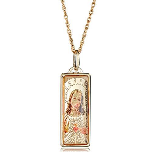 (10K Yellow Gold Enamel Jesus Pendant Necklace with 18