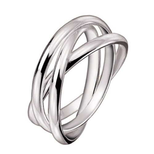 Amythyst Silver Tone Stainless Steel Three Interlocked Rolling Band Rings (Size 8)