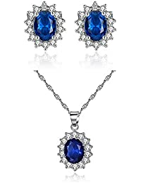 Artificial Sapphire Earrings and Necklace Set Retro Style Rhinestone Paved Necklace with Matching Ear Stud Hypoallergenic Women Wedding Jewelry Set