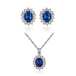 Artificial Sapphire Earrings and Necklace Set