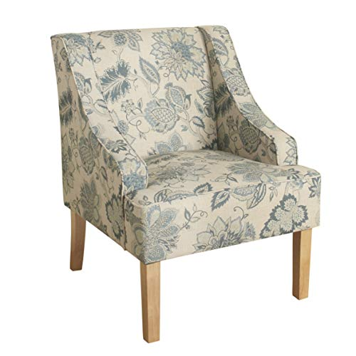 HomePop Swoop Arm Accent Chair, Blue and Tan Jacobean