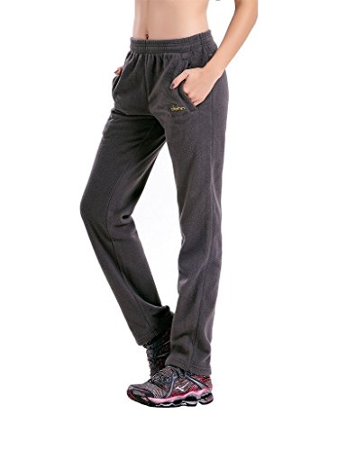 Clothin Men/Women Polar Fleece Thermal Sweatpants (US L,Gray)