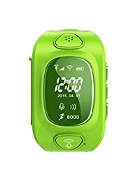 Kids Children Cute Smart Watch Band OLED Screen GPS/GPRS/WiFi Tracker Locater Real-time Monitor GSM Phone SOS Call Best Gift - Green