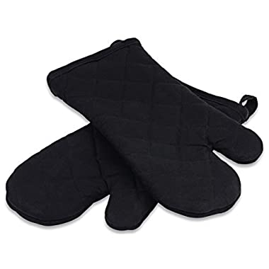 Premium Kitchen Oven Mitts, 100% Quilted Cotton with Thick Terry Cloth Lining, Set of 2 Mittens, Black