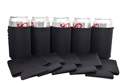 QualityPerfection - Set Of 12 - Black Neoprene Can Cooler Sl