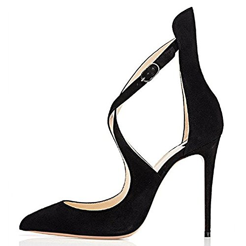 Ladies High Dress Criss Cross Party Fashion Stiletto Suede Toe for Slim Heels Pointed Wedding Black Pumps wft4wFrq