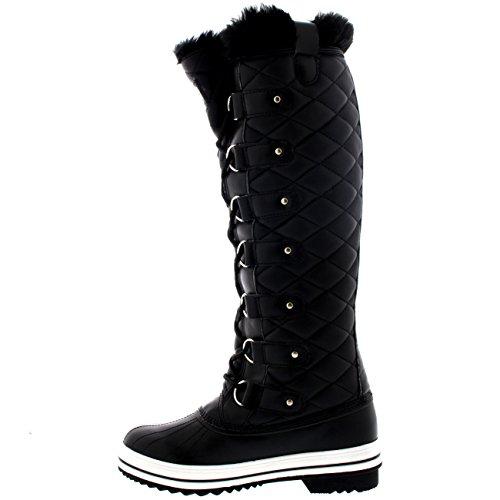 Polar Produkte Womens Stepp Kniestrumpf Duck Rain Lace Up Muck Schnee Winter Stiefel Schwarzes Leder