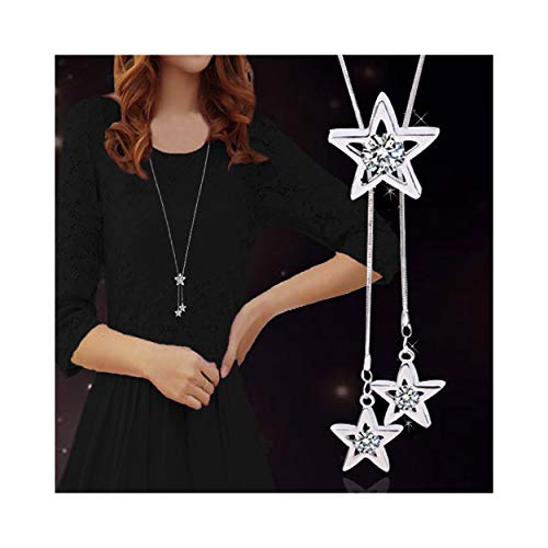 rystal Star Long Sweater Chain Necklace Fine Jewelry Crystals Women Red Pearl Cross Tassel Necklace (Star Silver) ()