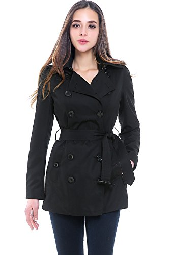 - BGSD Women's Tori Waterproof Classic Hooded Short Trench Coat - Black S