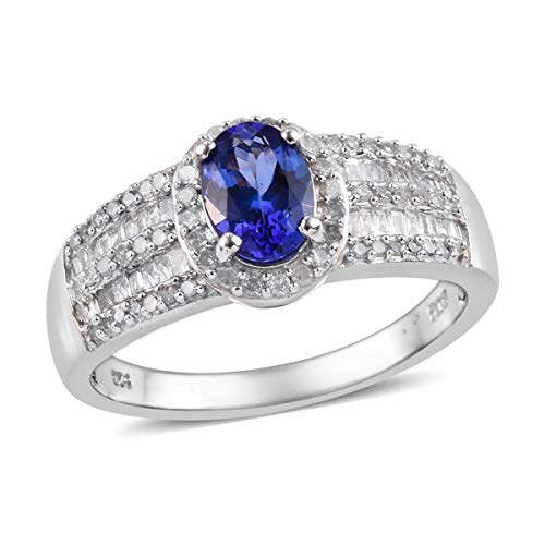 AAA Premium Tanzanite Diamond Baguette Halo Ring 925 Sterling Silver Platinum Plated Jewelry for Women Size 7 Ct 1.4 ()