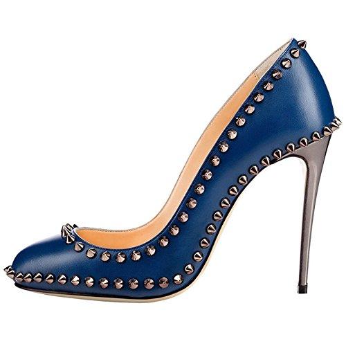 Arc-en-Ciel los zapatos de las mujeres de las bombas de tacón alto punta redonda del remache Azul