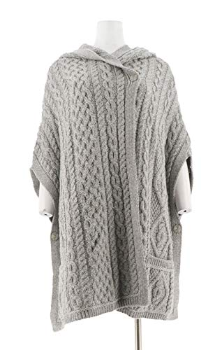 Aran Craft Merino Wool Drop Shoulder Vest Hood Soft Grey XL/XXL New A284413
