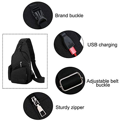 ChangYou Sling Bag Chest Backpack with USB Charging Port Polyester Shoulder Bag for Outdoor Sports Travel Color Black