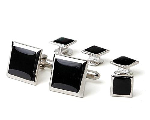 Silver Polished Square Faux Onyx Center Tuxedo Cufflinks and Studs
