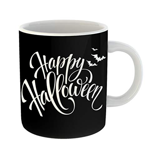 Emvency Coffee Tea Mug Gift 11 Ounces Funny Ceramic Gray Text Happy Halloween Message Party Pumpkin Gifts For Family Friends Coworkers Boss Mug