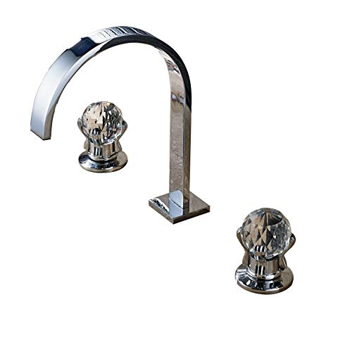 Rozin Bathroom 2 Crystal Knobs Basin Faucet 3 Holes Widespread Sink Mixer Tap Chrome Finish -