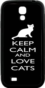 Rikki KnightTM Keep Calm and Love Cats Black Color Design Samsung? Galaxy S4 Case Cover (Black Hard Rubber TPU with Bumper Protection) for Samsung Galaxy S4 i9500