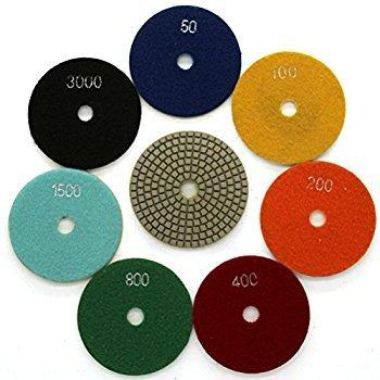 Phoenix Premium Grade Wet/Dry Diamond Polishing Pads, 4'' Polishing Pads Set of 7+1 Buff Pad For GRANITE, MARBLE, - Set Wet Polishing Pad