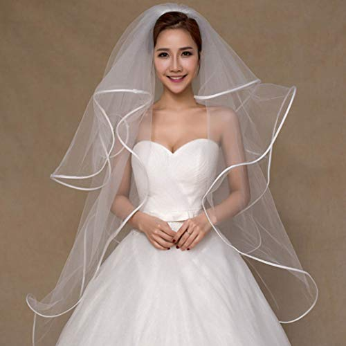 Zoestar Wedding Bridal Veils With Comb Bridal Cathedral Veil White Multilayer Ribbon Edge Center Cascade for Brides