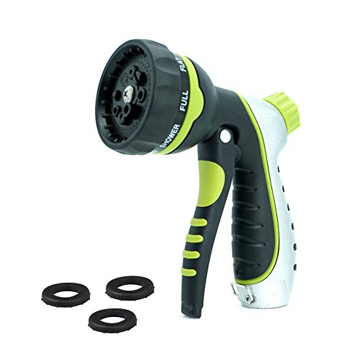 Garden Hose Nozzle Sprayer – Heavy Duty Metal Water Hose Gun,High Pressure 8 Adjustable Water Pressure Hand Spray Nozzle for Watering Plants and Gardening, Cleaning Houses, Car Wash and Showering Pets by JINJIAN