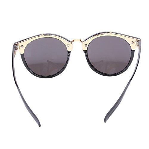 de Alomejor para y de UV400 Frame Black de Frame Grey Black Sol Silver Ojo con amp; Hombre Mujer Lens de Gafas Gato Gafas Marco Sol Redondas amp; Lens ArwcqA65