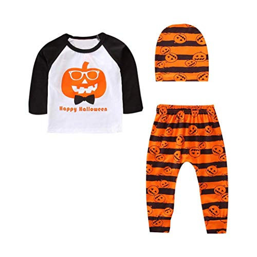 Happy Halloween Infant Baby Toddler Boy Girl Autumn Winter Clothes 3pcs Pumpkin Suit Long Sleeve Shirt Top+Pants+Hat (White,6-12 -