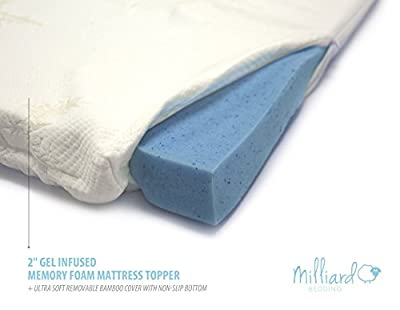 "MILLIARD 2"" Gel Infused Memory Foam Mattress Topper + Ultra Soft Removable Bamboo Cover with Non-Slip Bottom"