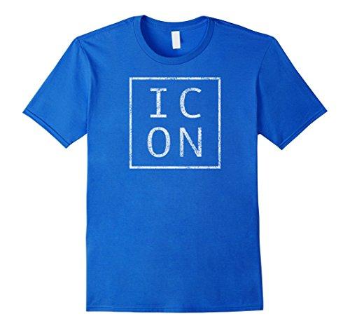 Mens Distressed Icon T Shirt Funny Retro Tee Medium Royal Blue
