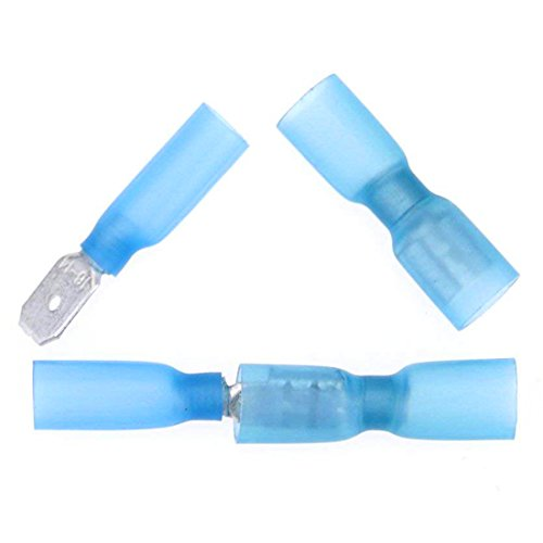 Hilitchi 100Pcs Nylon Heat Shrink Fully Insulated Female Male Spade Wire Electrical Crimp Terminal Quick Wiring Connector (Blue/16-14AWG)