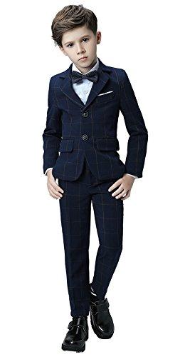 (Yanlu Boys Suits Plaid Formal Kids Dresswear Tuxedo Set Size 5 Navy Blue Plaid)