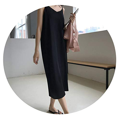 four- Sexy Women Maxi Dress Loose Sleeveless Dresses V-Neck Sling Long Black Party Dress,Black,One Size