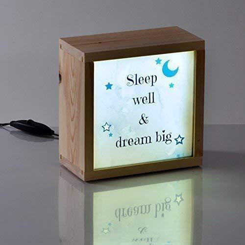 Caja de luz infantil y luz quitamiedos– Regalo personalizado con el nombre -Dulces sueños – Formato 28x21x9, 5cm.