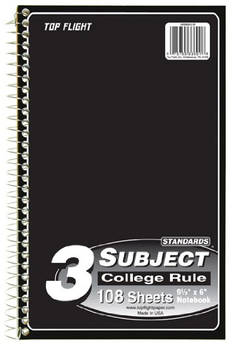 (Top Flight Standards 3-Subject Wirebound Notebook, 108 Sheets, College Rule, 9.5 x 6 Inches, 1 Notebook, Cover Color May Vary (33601))